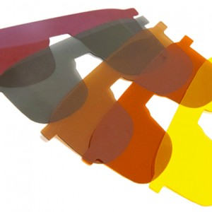 Photo of Ocutech slip behind sunfilters in 5 colors