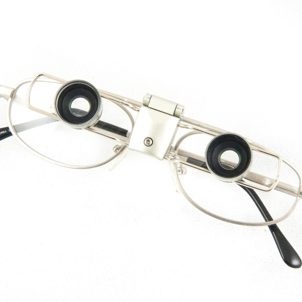 SightScope 0.5x Field Expander for tunnel vision mounted on Ocutech Sleek frame