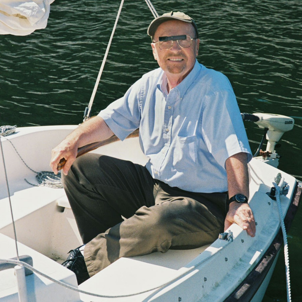 Ocutech Co-founder, Russ Pekar, wearing his VES-Sport while out on his sailboat.