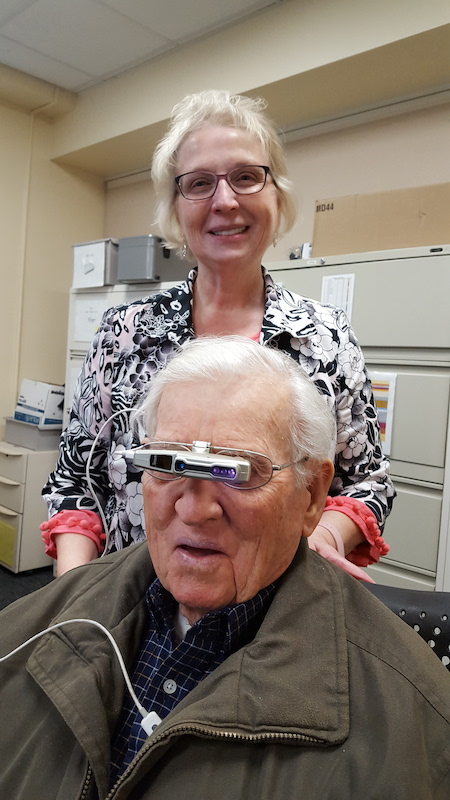 Image of Dr. Patti Fuhr with veteran Patient wearing Ocutech Falcon Autofocus Bioptic