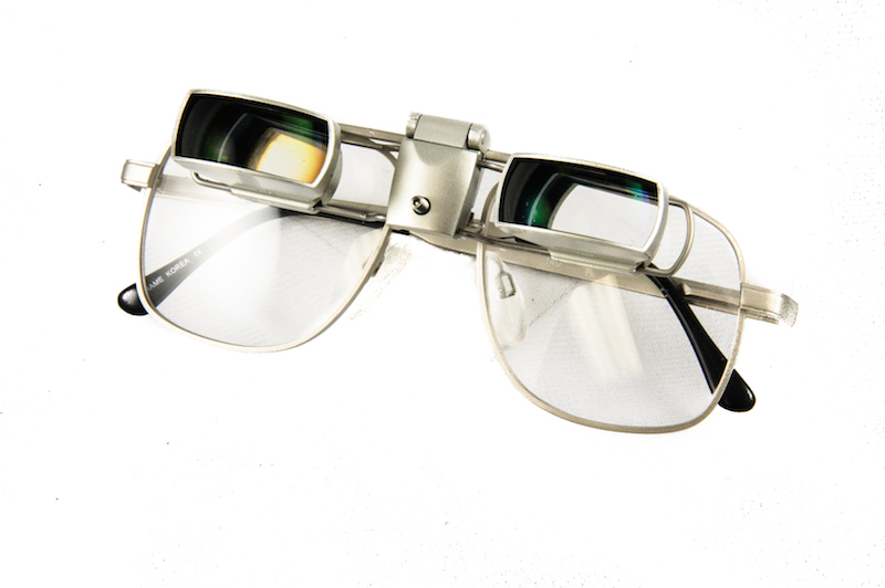 Image of glasses with flipup sightscope bioptic