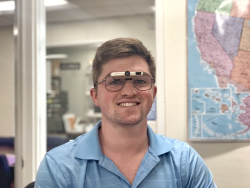 Young man wearing Ocutech bioptics